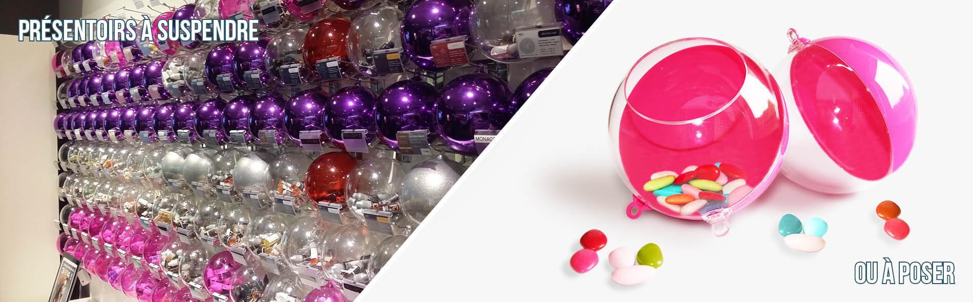 Boule présentoir plastique pour décoration et présentation produit